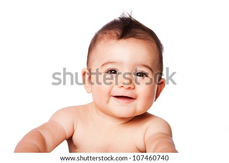 Beautiful expressive adorable happy cute laughing smiling baby infant face, isolated. - stock photo