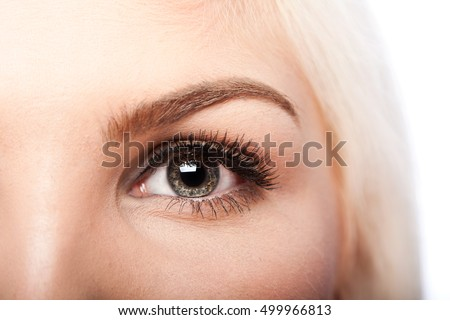 Beautiful eye with long lashes and eyebrow of Caucasian woman