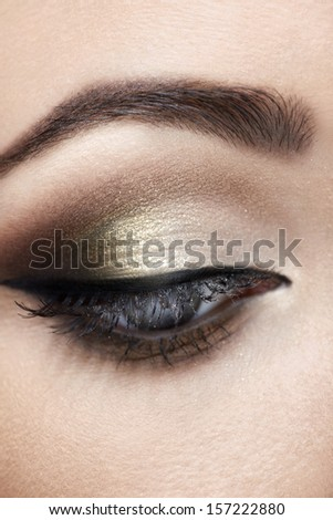 Beautiful eye with makeup close up