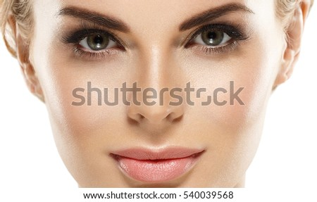 Beautiful Eyes Blonde closeup Face of Young Woman with Clean Fresh Skin close up isolated on white. Beauty Portrait. Beautiful Spa Woman Smiling. Perfect Fresh Skin. Pure Beauty Model.