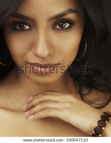 Beautiful eyes of gorgeous young woman. - stock photo