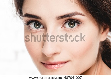 Beautiful eyes woman portrait face studio isolated on white