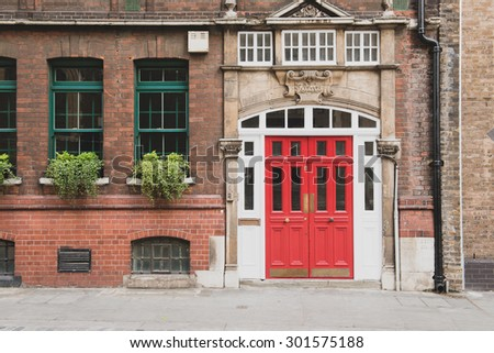 Beautiful facade of a building in London - stock photo