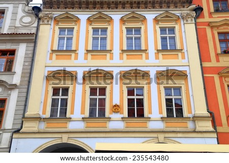 Beautiful facade of traditional building on the streets of Prague Old Town, Czech Republic - stock photo