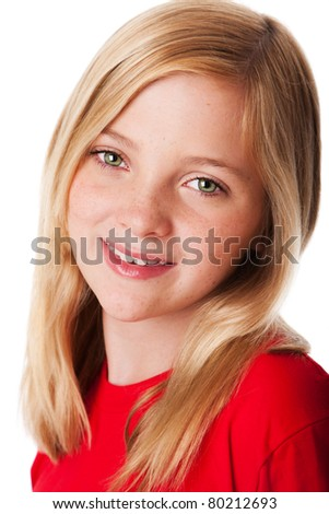 Beautiful face of a happy smiling teenager child girl with green eyes and blond hair, isolated.