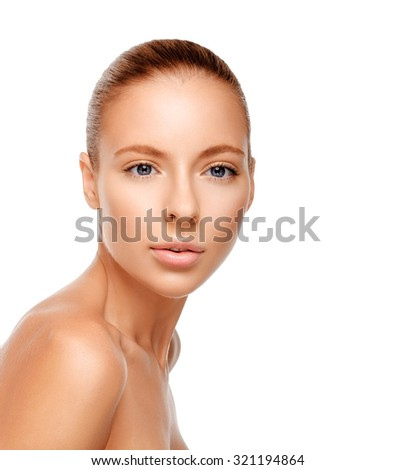 Beautiful face of a woman with clean skin - isolated on white background