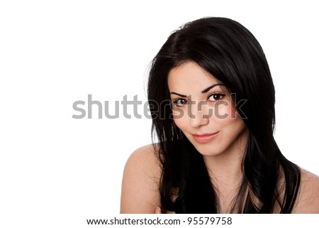 Beautiful face of happy smiling attractive young woman with great skin and black hair, skincare concept, isolated. - stock photo