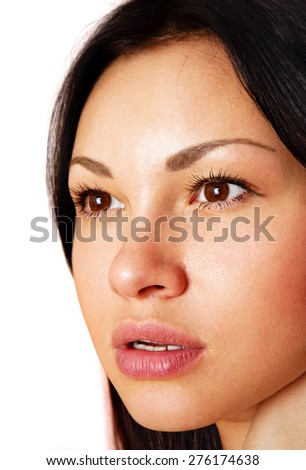 beautiful face of the young girl, close up - stock photo
