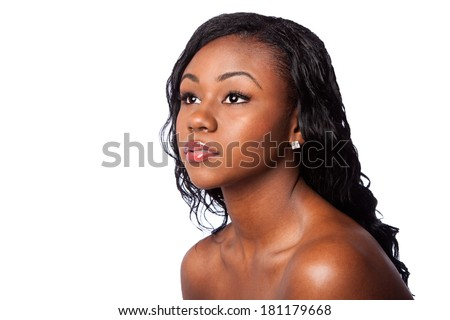Beautiful face of woman with pimple acne free clear skin, facial skincare dermatitis concept, isolated. - stock photo