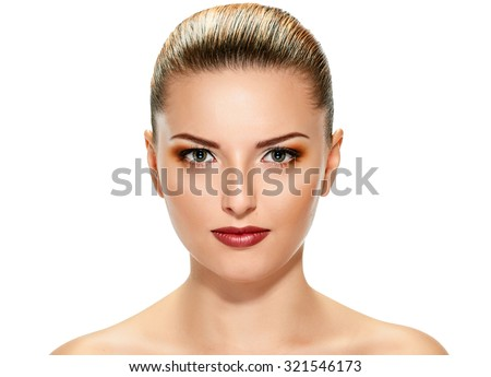 Beautiful face of young adult woman with clean fresh skin on white