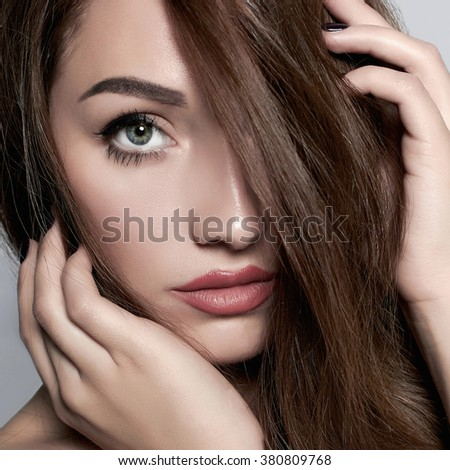 beautiful face of young woman. beauty girl close-up