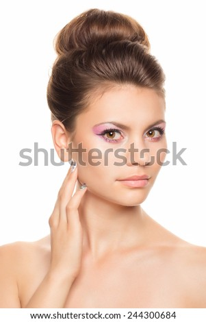 Beautiful Face of Young Woman with Clean Fresh Skin isolated on white. Beauty Portrait. Beautiful Spa Woman Smiling. Perfect Fresh Skin. Pure Beauty Model. Youth and Skin Care Concept - stock photo