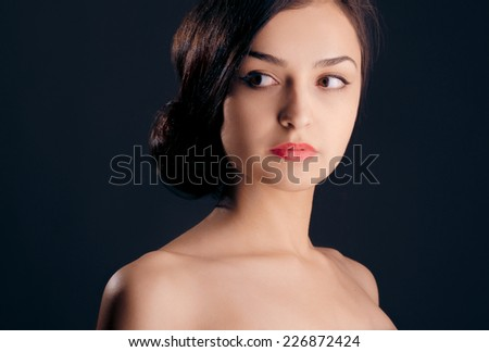 Beautiful face, portrait of a woman, close up. - stock photo