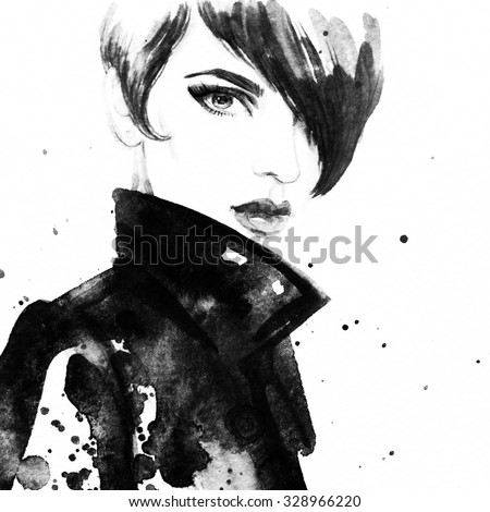 Beautiful face. woman portrait with coat. abstract watercolor .fashion background - stock photo