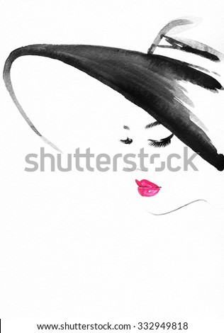 Beautiful face. woman portrait with hat. abstract watercolor .fashion background - stock photo
