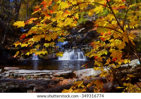 Beautiful Factory Falls framed by bright yellow leaves - a waterfall located in the Poconos of Pennsylvania, transformed into a colorful pointillism style painting