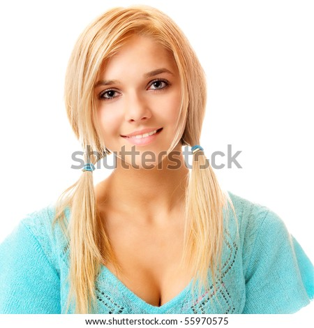 Beautiful fair-haired girl , on white background. - stock photo