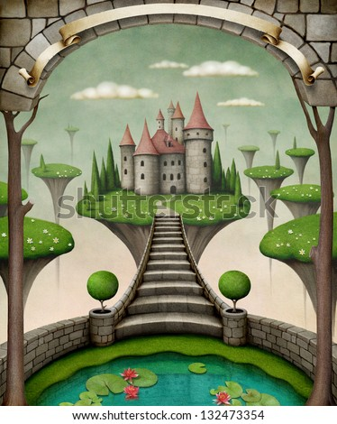 Beautiful fairy background or illustration with hanging meadows and castle. - stock photo