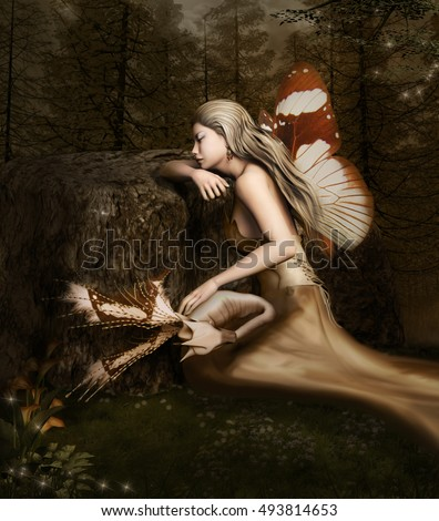 Beautiful fairy sleeps in the forest with a little fantasy dragon - 3D illustration