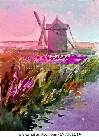 Beautiful fairy tale mill and blooming grass lilac watercolor painting illustration