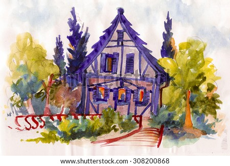 Beautiful fairy tale small house illustration paper watercolor oil canvas print poster