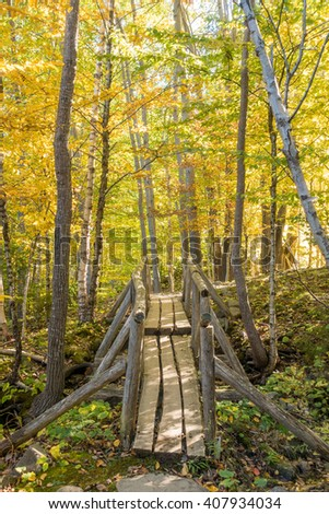 Beautiful fall colors of Acadia National Park in Maine USA - stock photo