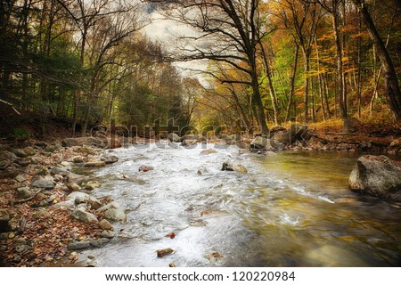 Beautiful Fall river lines with rocks and trees - stock photo