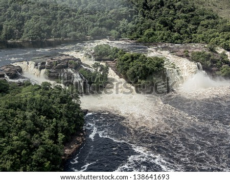 Beautiful falls in the lagoon of the Canaima national park (view from the plane) - Venezuela, South America