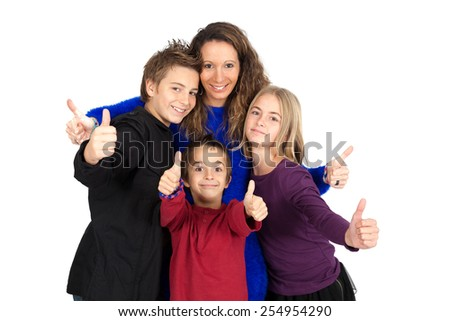 Beautiful family doing different expressions in different sets of clothes: thumbs up - stock photo
