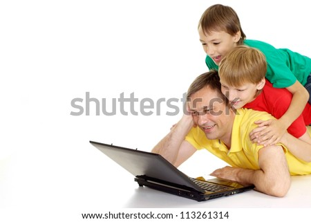 Beautiful family in bright T-shirts on a white background - stock photo