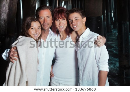 Beautiful family portrait at the beach in California while on vacation