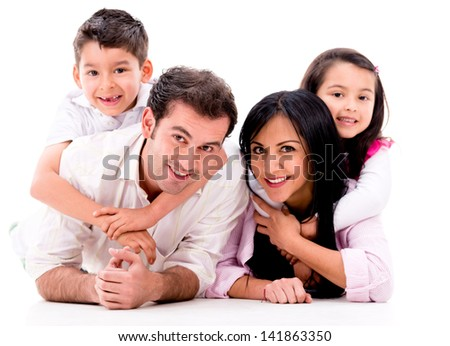 Beautiful family portrait - isolated over a white background - stock photo