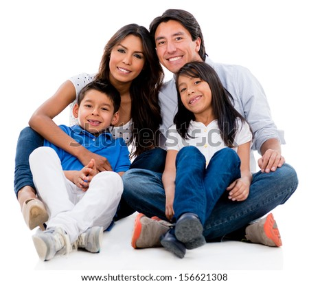 Beautiful family portrait looking happy - isolated over white background  - stock photo