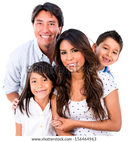 Beautiful family portrait smiling - isolated over white background