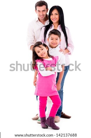 Beautiful family smiling - isolated over a white background - stock photo