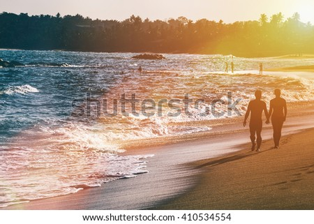 Beautiful fantastic sunset on beach landscapes. Selective focus. - stock photo