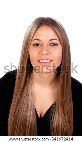 Beautiful fashion girl with straight long blonde hair isolated on a white background