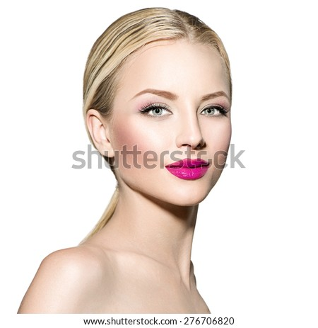 Beautiful fashion model girl with blond straight hair. Portrait of glamour woman with bright makeup isolated on white background. Beauty female face close up with perfect make up - stock photo