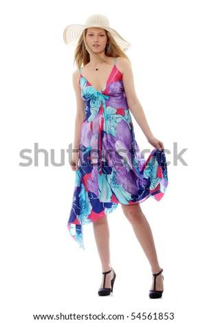 Beautiful Fashion Model Wearing A Retro Summer Hat - stock photo