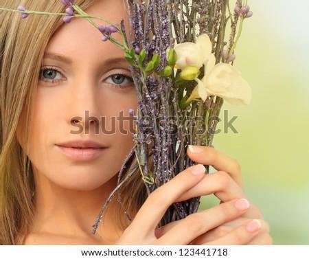 Beautiful fashion model with natural makeup, spring season - stock photo