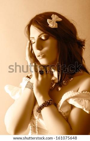 beautiful fashion portrait - stock photo