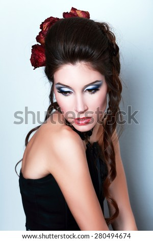 beautiful fashion vampire victorian style woman posing close up