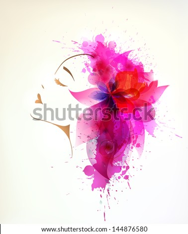 Beautiful fashion women with abstract pink flower and blots. - stock photo
