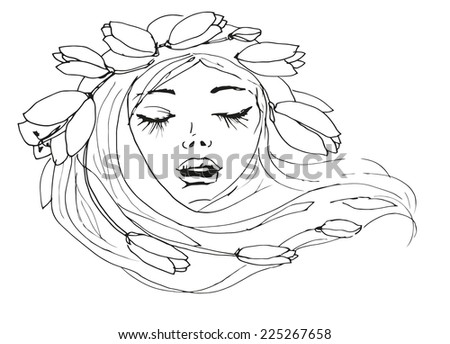 Beautiful fashion women with flowers in her hair.  - stock photo