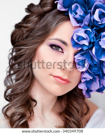 Beautiful,fashionable,glamour,attractive,elegant,sensual girl,woman,princess,lady with blue,flower,wreath,fantasy portrait,art,crown,white,bright face,skin,glamour,creative,luxury,gloss,muse,romantic - stock photo