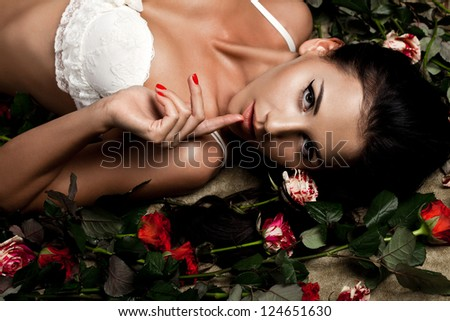 beautiful fashionable woman in lingerie with roses - stock photo