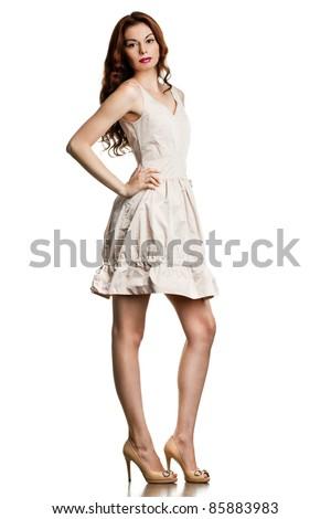 beautiful fashionable woman isolated on white background - stock photo