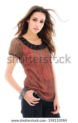 beautiful fashionable woman posing on white background - stock photo