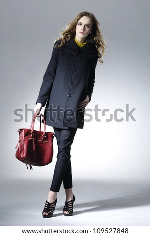 beautiful fashionable woman with handbag posing - stock photo