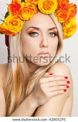 beautiful fashionable woman with roses